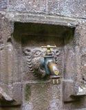 Guindaste de que os peregrinos beberam uma vez a água Mont Saint-Michel, França foto de stock