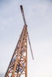 Guindaste de torre amarelo Imagem de Stock
