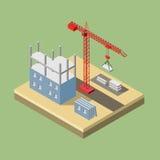 Guindaste industrial isométrico para a construção imagens de stock