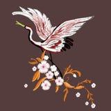 Guindastes com flores Bordado para a forma Ilustração do vetor ilustração stock