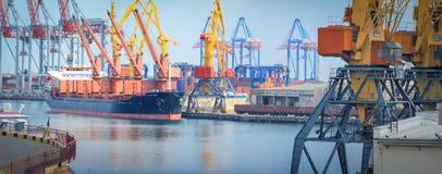 Guindastes da carga, navios e secador de gr?o de levantamento no porto mar?timo imagem de stock