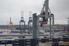 Guindastes da carga no porto Fotografia de Stock