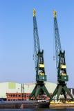 Guindastes de pórtico do porto Imagem de Stock