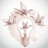 Guindastes de papel do origâmi e esboço claro linha no fundo bege Textura de Grunge Vetor Imagem de Stock