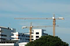 Guindastes de torre em um céu azul Imagens de Stock Royalty Free