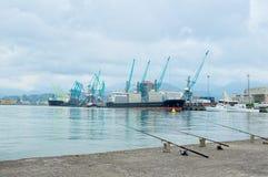 Guindastes de trabalho no porto marítimo Foto de Stock
