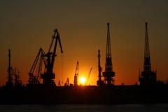 Guindastes do mar no por do sol no porto Imagens de Stock Royalty Free