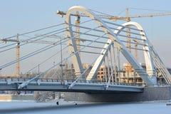 Guindastes do onstruction do ¡ de Ð e ponte de Lazarevsky fotografia de stock royalty free