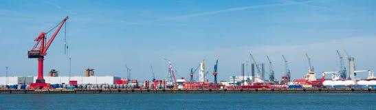Guindastes do porto Foto de Stock Royalty Free