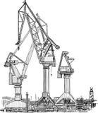 Guindastes do porto ilustração stock