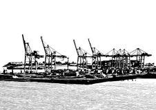 Guindastes do porto ilustração royalty free