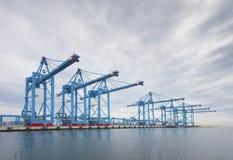 Guindastes do porto de Rotterdam Fotografia de Stock