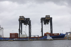 Guindastes dos marismas do porto Fotografia de Stock