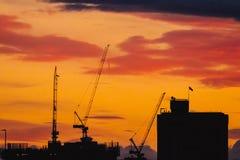 Guindastes e construções no por do sol fotografia de stock royalty free
