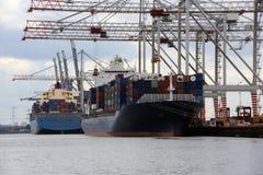 Guindastes e navios Fotografia de Stock Royalty Free