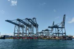 Guindastes e recipientes em portos de Auckland foto de stock royalty free