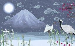 Guindastes japoneses no inverno na noite na perspectiva de uma montanha ilustração stock
