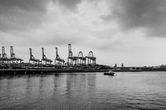 Guindastes no porto Fotos de Stock