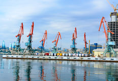Guindastes no porto de Baku Foto de Stock Royalty Free