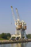 Guindastes no porto de Gdansk, Polônia fotos de stock