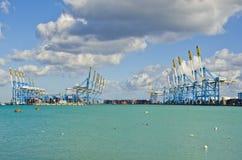 Guindastes no porto franco Imagem de Stock Royalty Free