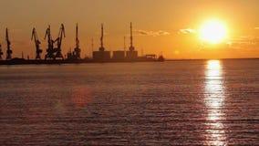 Guindastes no porto mar?timo no por do sol, um porto perto do porto, um seascape bonito, um grande porto no por do sol vídeos de arquivo