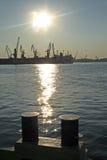 Guindastes portuários imagens de stock royalty free