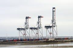 Guindastes portuários Foto de Stock Royalty Free