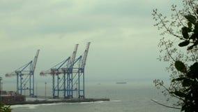 Guindastes portu?rios marinhos, terminal de recipiente e zona industrial na parte dianteira da carga do porto comercial do mar de filme