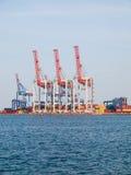 Guindastes vermelhos e azuis brilhantes e recipientes marítimos coloridos stan Foto de Stock