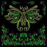 Guindineau lumineux avec le décor futuriste de fleur Images stock
