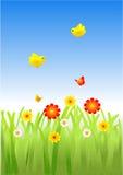 Guindineaux et oiseaux de fleurs Photographie stock