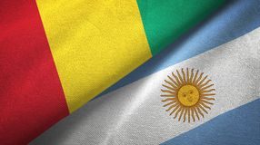 Guinea and Argentina two flags textile cloth, fabric texture. Guinea and Argentina flags together textile cloth, fabric texture stock illustration