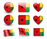 The Guinea-Bissau Flag. Set of icons and flags. glossy and matte on a white background Royalty Free Stock Photos