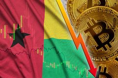 Guinea Bissau flag and cryptocurrency falling trend with many golden bitcoins. Concept of reduction Bitcoin in price or bad conversion in cryptocurrency mining stock photo