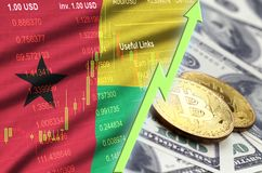 Guinea Bissau flag and cryptocurrency growing trend with two bitcoins on dollar bills. Concept of raising Bitcoin in price against the dollar royalty free stock images