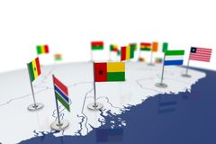 Guinea-Bissau flag. Country flag with chrome flagpole on the world map with neighbors countries borders. 3d illustration rendering Stock Photography