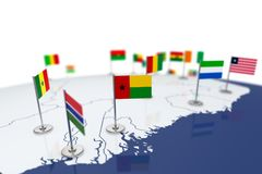 Guinea-Bissau flag. Country flag with chrome flagpole on the world map with neighbors countries borders. 3d illustration rendering flag Royalty Free Stock Photo