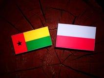 Guinea Bissau flag with Polish flag on a tree stump isolated. Guinea Bissau flag with Polish flag on a tree stump stock illustration