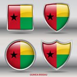 Guinea Bissau Flag in 4 shapes collection with clipping path royalty free stock images