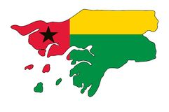 Guinea-Bissau Kaart van de vectorillustratie van Guinea-Bissau Royalty-vrije Stock Afbeeldingen
