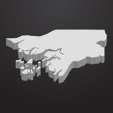 Guinea Bissau map in gray on a black background 3d Royalty Free Stock Image
