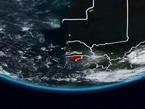 Guinea-Bissau during night. Guinea-Bissau on Earth at night with visible country borders. 3D illustration. Elements of this image furnished by NASA stock photos