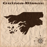 Guinea-Bissau old map with grunge and crumpled paper. Vector illustration Royalty Free Stock Photography