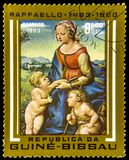 Guinea-Bissau Postage Stamp With Art From Raffaello. A postage stamp from Guinea-Bissau depicting a painting from the artist Raffaelo (Raphael)  Sanzio da royalty free stock photos