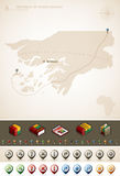 Guinea-Bissau. Republic of Guinea-Bissau and Africa maps, plus extra set of isometric icons & cartography symbols set (part of the World Maps Set Royalty Free Stock Images
