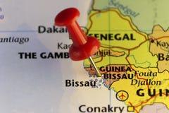 Guinea-Bissau steckte Karte fest Lizenzfreie Stockfotografie