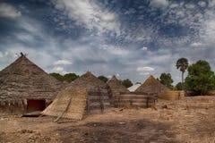 GUINEA-BISSAU traditionellt lantligt hushåll Fotografering för Bildbyråer
