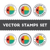 Guinea-Bissauan flag rubber stamps set. National flags grunge stamps. Country round badges collection Royalty Free Stock Photo