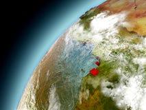 Guinea Ecuatorial de la órbita de Earth modelo Fotos de archivo libres de regalías